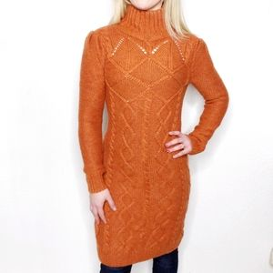 Moda International Orange Cable Knit Sweater Dress